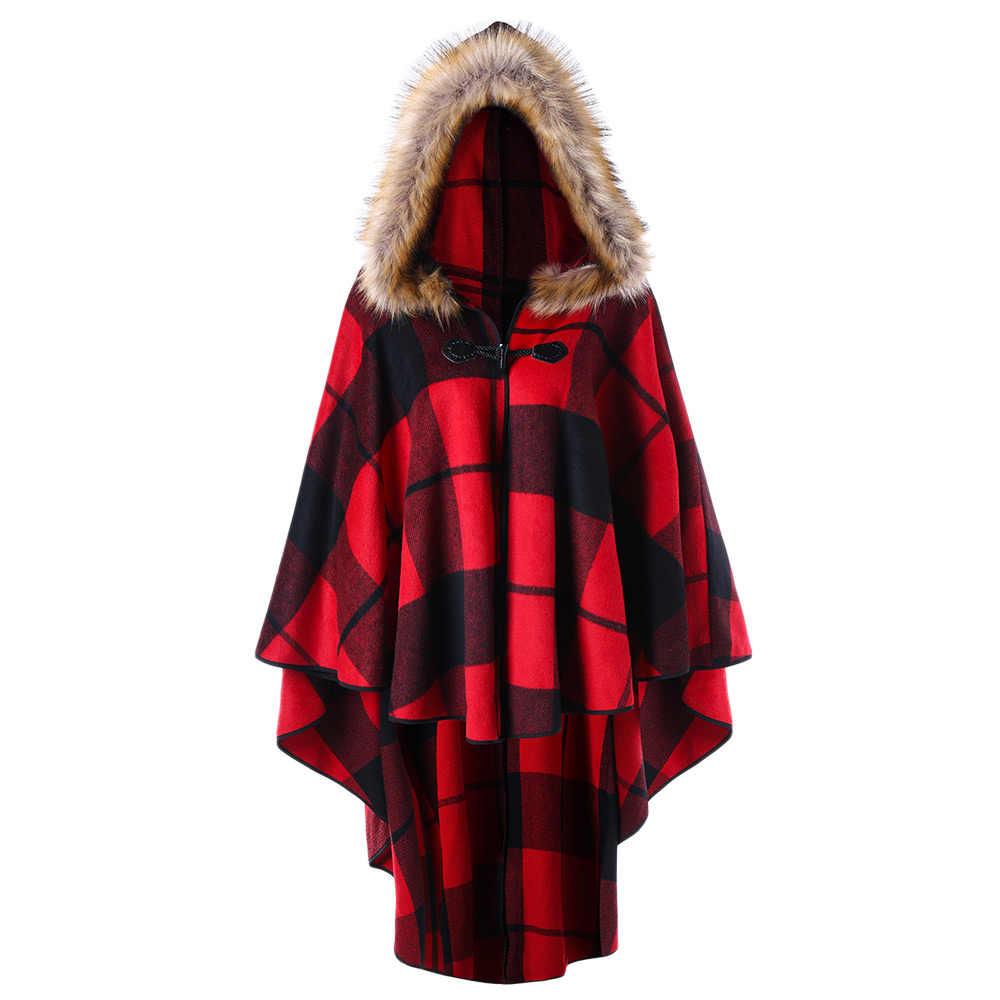 f71ea0226b8 Kenancy más tamaño a cuadros de capa con capucha 4XL 5XL Otoño Invierno  Faux Fur Hoodies