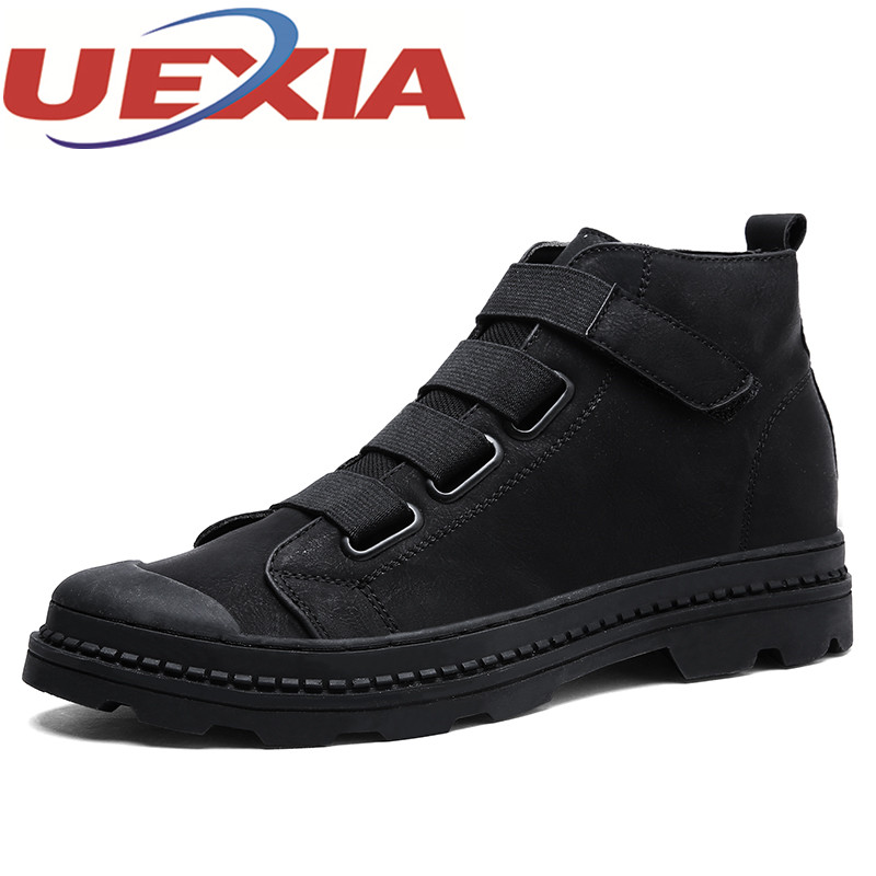 Autumn Mens Casual High Top Shoes Winter Outdoor Warm Work Shoes Male Fashion Hook&Loop Flats Breathable Sneakers Zapatos Hombre  west scarp mens casual shoes man flats spring autumn breathable fashion classic men canvas shoes brand outdoor zapatos hombre
