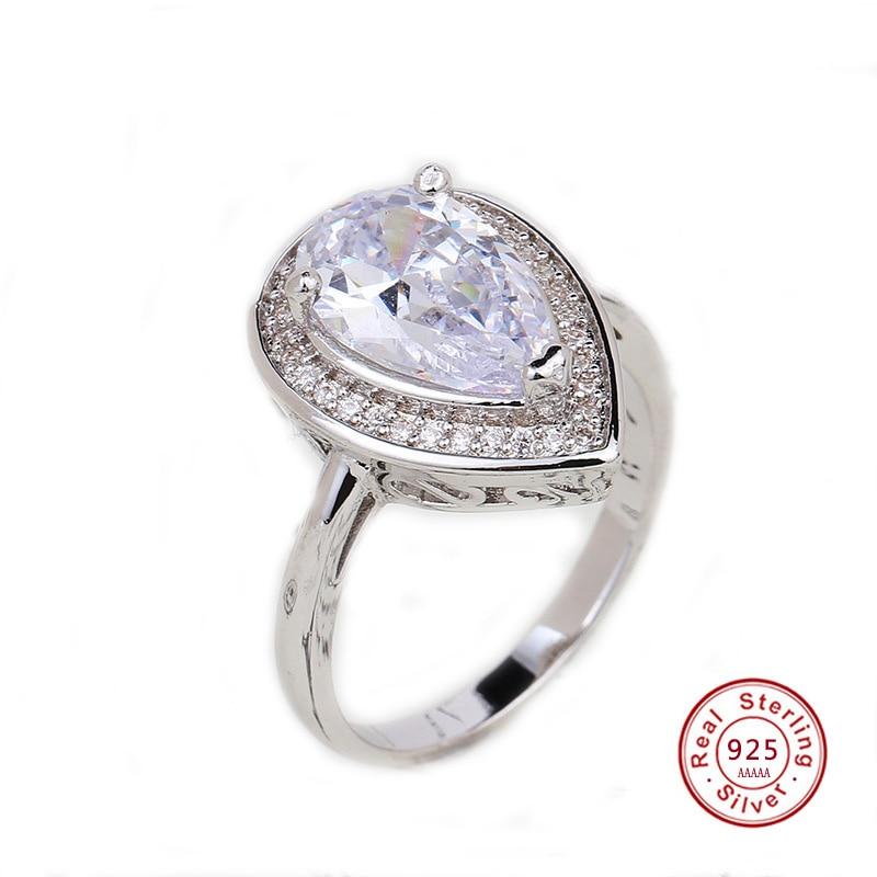 Drop Wasser Trendy Zirkonia 925 Sterling-silber Ring Für Frauen Partei Kristall Hochzeit Schmuck Größe 5 6 7 8 9 10 Freies Schiff Hohe Sicherheit