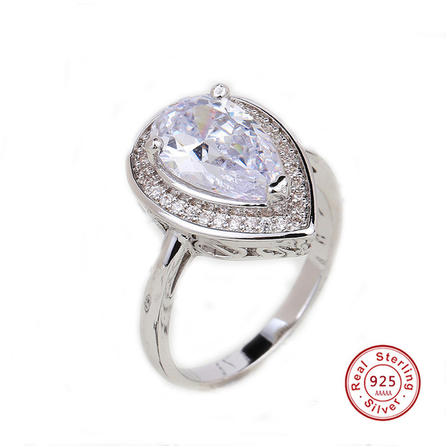 Drop Water Trendy Cubic Zirconia 925 Sterling-Silver Ring For Women Party Crysta