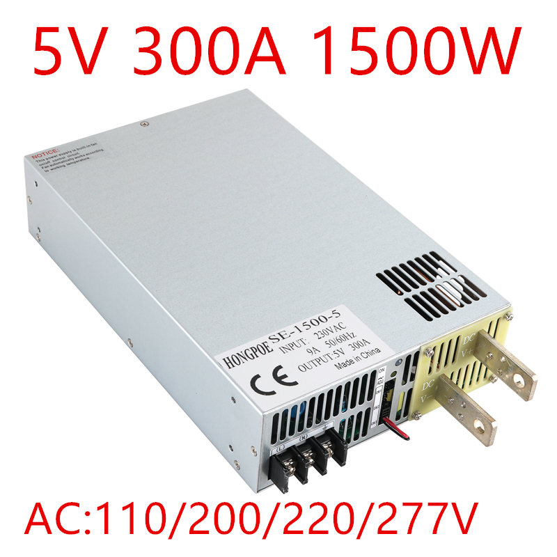 1PCS 1500W 300A 5V Power Supply 5V Driver for LED Strip AC-DC 110VAC 220VAC 277VAC Input to DC 5V 300A SE-1500-51PCS 1500W 300A 5V Power Supply 5V Driver for LED Strip AC-DC 110VAC 220VAC 277VAC Input to DC 5V 300A SE-1500-5