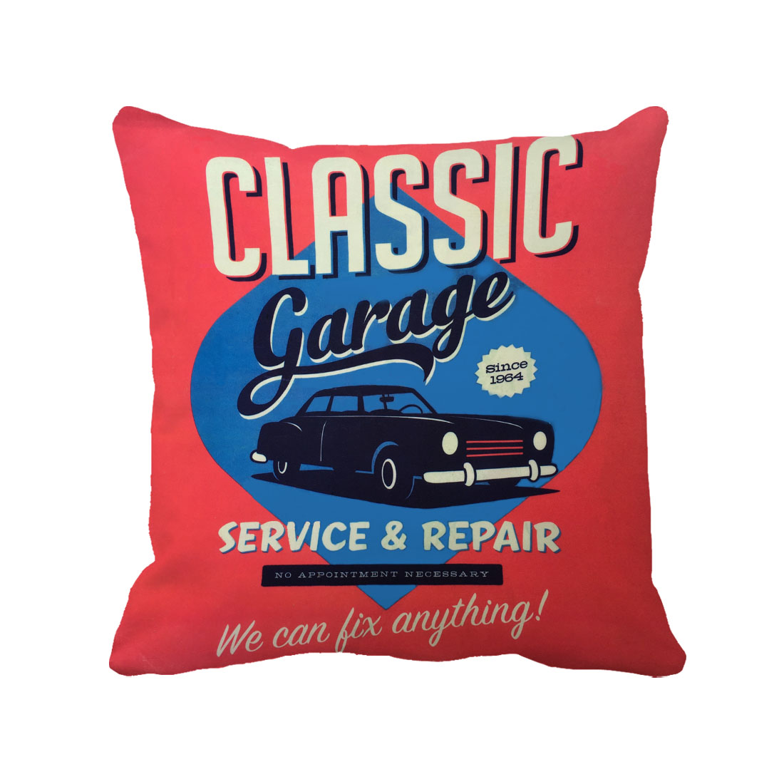classic garage car printed vintage custom cushion cover Euro red and blue throw pillow case for sofa chair and home decoration