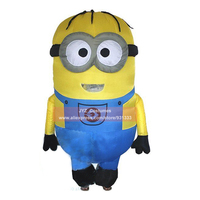 2 M Adults Inflatable Minions Mascots Despicable Me Little Yellow Man Halloween Costume Moveable Jumpsuits Disfraces