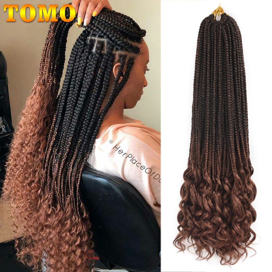 TOMO 14 18 24 Inch Crochet Hair Box Braids Curly Ends Ombre Synthetic Hair For Braid 22 Strands Braiding Hair Extensions