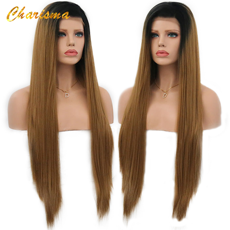 Charisma Synthetic Wig Silky Straight Long Hair Lace Front Wigs Ombre Wigs For Black Women With Natural Hairline In Stock