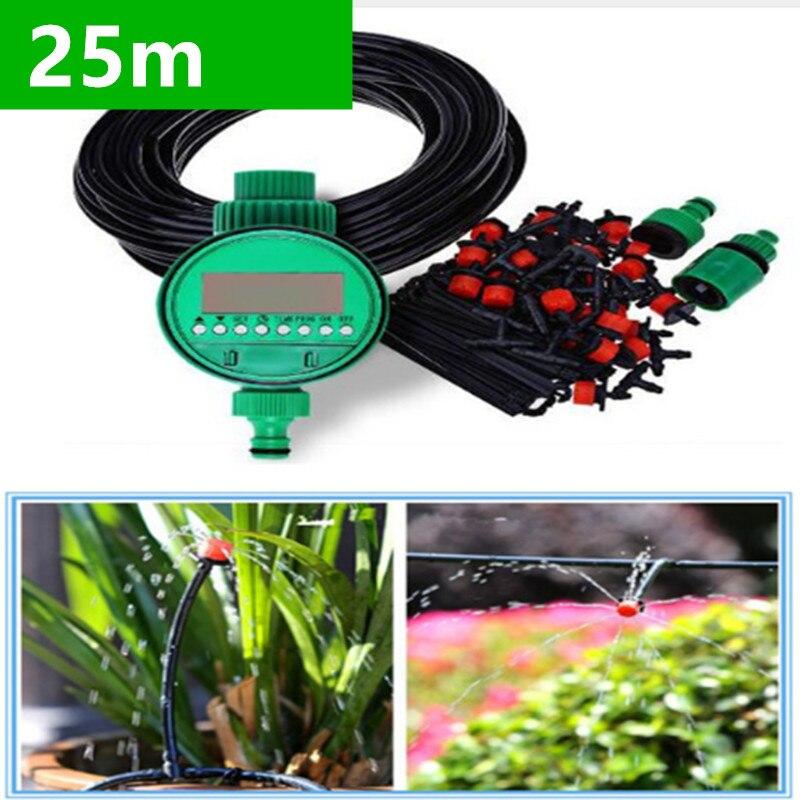 25 m DIY Micro Drip Irrigation System Plantes Auto Automatique Minuterie D'arrosage Tuyau D'arrosage Kits Avec Réglable Goutteur BH06