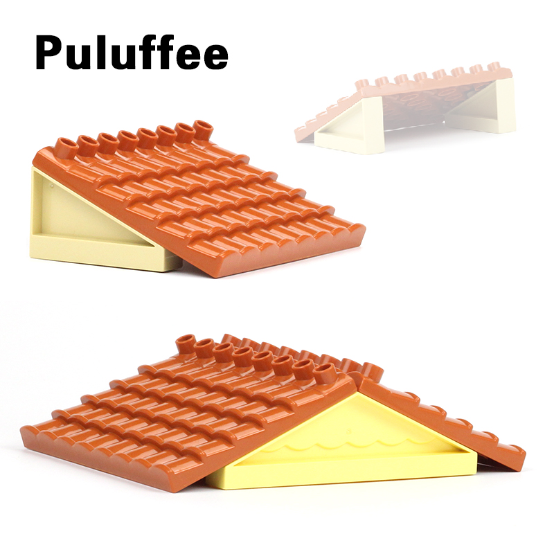 Roof Big Size DIY Bricks Parts Compatible With Duplo House Accessory Building Blocks Educational Toys For Children Gifts цена 2017