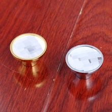33mm plane transparence glass drawer cabinet knobs pulls silver chrome gold dresser cupboard door handles knobs modern simple