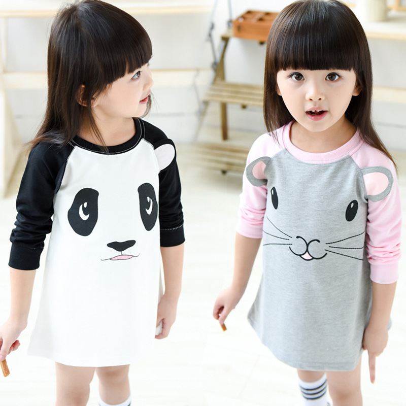 2017 New Fashion Panda Mouse Baby Girls Dresses Cartoon Kids Dress Cotton  For Girl Baby Clothing Children Clothes 2-6y