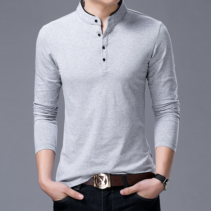 Hot Sell 2019 New Fashion Brand Clothing Polo Shirt Mens Mandarin Collar Long Sleeve Slim Fit