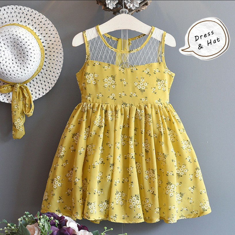Melario Girls Dress 2018 Summer Children Clothes Splicing Lace Dress+Hat Girls Floral Kids Princess Dress For 2-6 Years Girl girls summer casual bow print floral lace dress children s clothing girls fashion princess dress baby girl 13 age clothes
