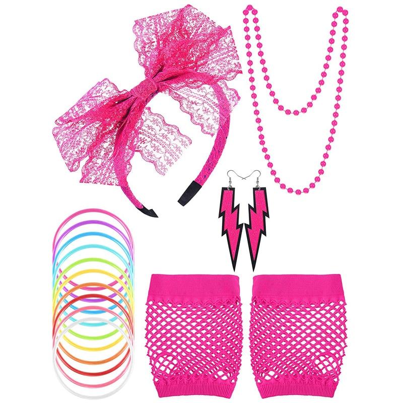 80/'s Necklace Earrings Pop Star Neon Fancy Dress Up Halloween Costume Accessory