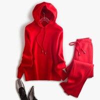 Europe High End Hooded Long Sleeve Kangaroo Pockets Wool Hoodie Pants Women Sporting Set 2017 Autumn