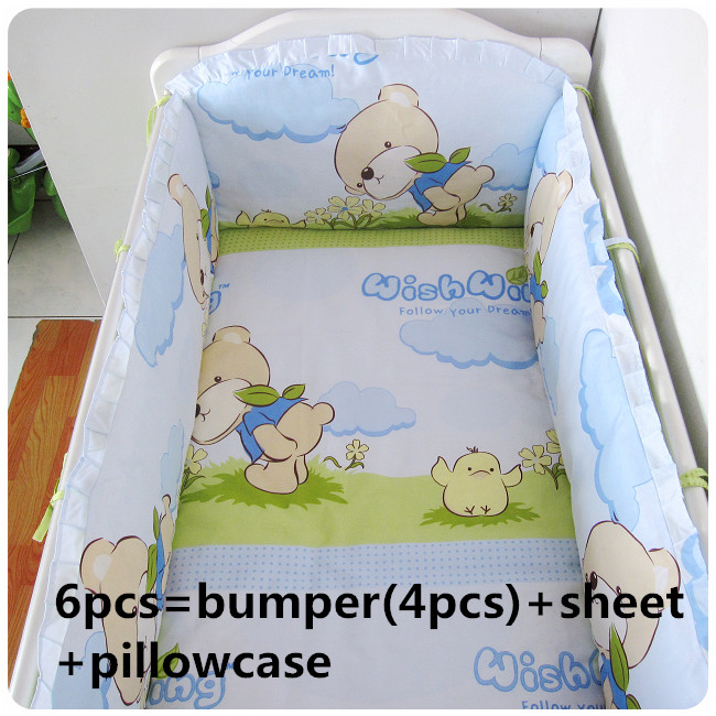 2016 6PCS Baby bedding set crib bedding set new arrival cute (bumpers+sheet+pillow cover) cute 6pcs lot adult
