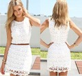 Summer 2016 o-neck sleeveless slim hip sweet lace halter dress package without belt crochet dresses s-xxl