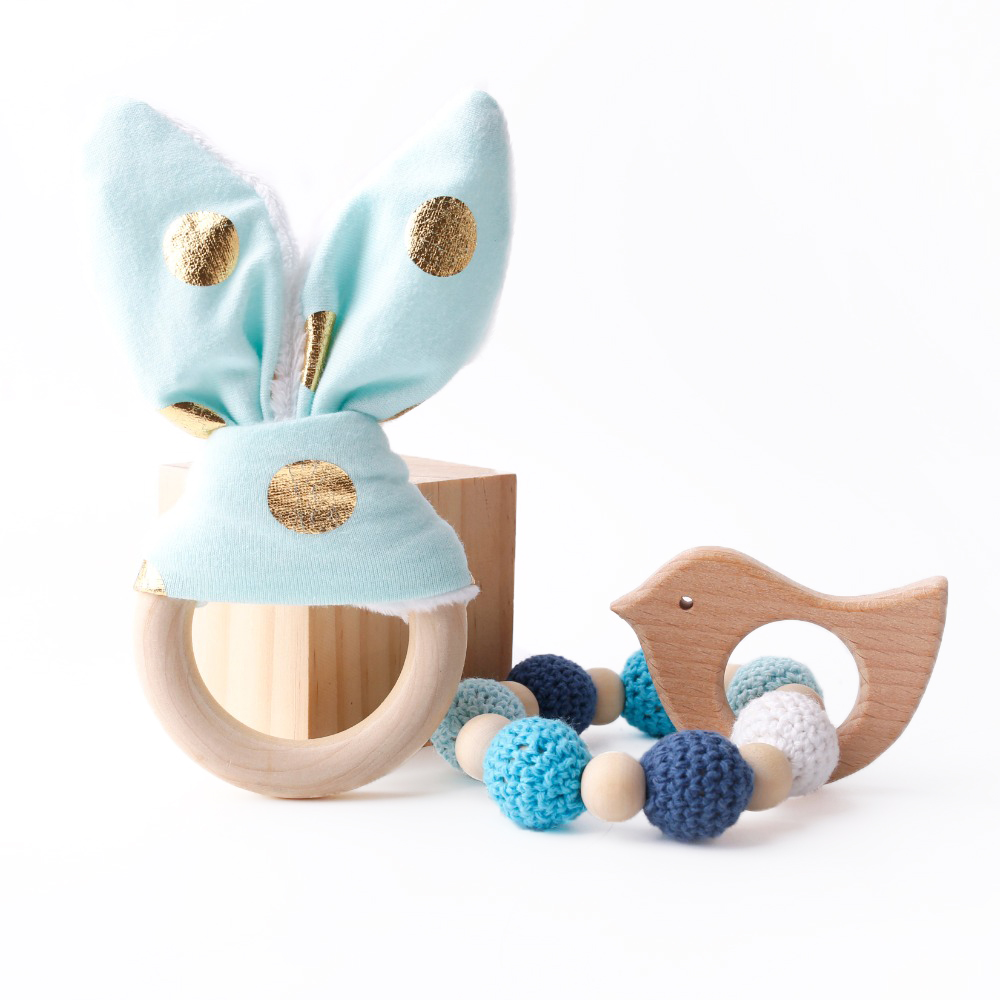 2PC Wooden Ring Natural Baby Rabbit Ear And Rattle Crochet Beads Animal Shape Wooden Teether Chew Toys Bracelets Wooden Baby Gym