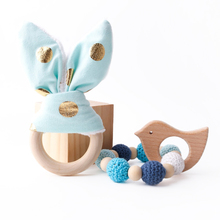 2PC Wooden Ring Natural Baby Rabbit Ear And Rattle Crochet Beads Animal Shape Teether Chew Toys Bracelets Gym