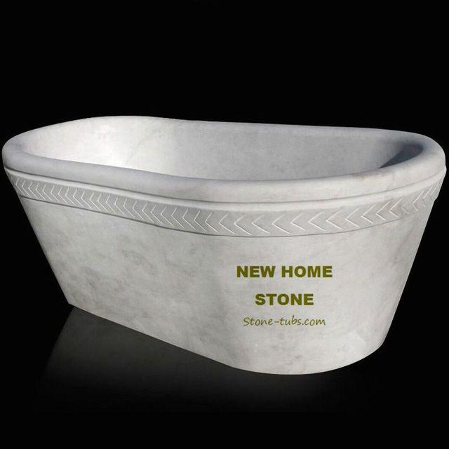 Freestanding soaker bathtubs oval style full bullnose rim edge white ...