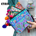 Handmade Ethnic Flowers Embroidered Wallet Purse Women Wallet Embroider Purse Clutch Mobile Phone Bag Coin Bag Sac a Dos Femme