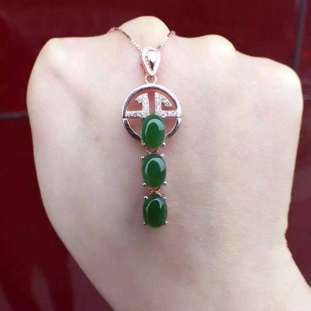 Natural green джаспер кулон S925 серебро Природного нефрита Кулон Ожерелье модный Элегантный Повезло монеты женщины Ребенок партия ювелирных изделий