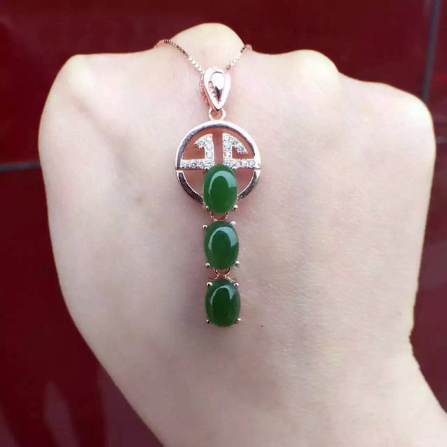 natural green jasper pendant S925 silver Natural jade Pendant Necklace trendy Elegant Lucky coins women Child party jewelry