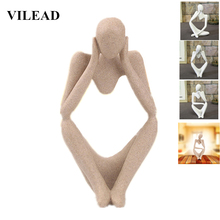VILEAD Natural Sandstone Thinker Figurine Miniatures Thingking Man Souvenirs Meditation Statue Home Decor New Year Decoration