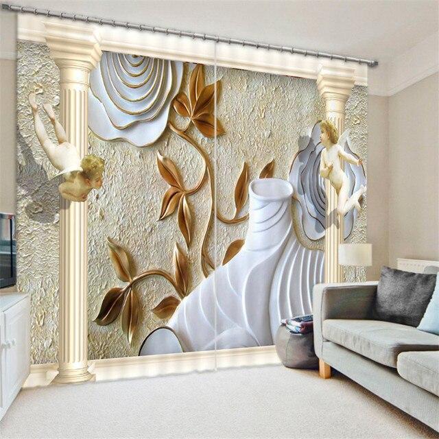 European Painting Blackout Curtains Living Room Hotel Drapes Cortians Sunshade Window Curtain 3D