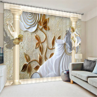 European painting Blackout Curtains Living Room hotel Drapes Cortians Sunshade Window Curtain 3D Curtains