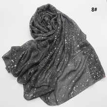 Women Fashion Plain Solid Glitter Oversized Viscose Scarf Ladies Shimmer Shawls and Wraps Pashmina Hijab Bufandas Muslim Sjaal