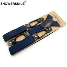 SHOWERSMILE широкие мужские подтяжки с пуговицами, однотонные темно-синие кожаные винтажные подтяжки для брюк, мужские ремни для брюк 120 3,5 см