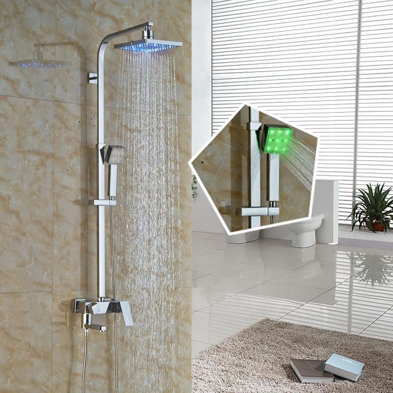 LED Light Rain Shower Faucet Single Handle Rotate Tub Shower Mixer Taps Chrome Color Changing Bath Shower Sytem with Handshower poiqihy chrome rain