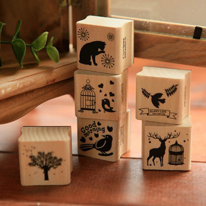 DIY Cute Kawaii Wooden Stamp Animal Cat Dog Bird Tree Stamps Set for Diary Photo Album Scrapbooking Stationery Free shipping 610 jamie notes cute cat stamps roller date stamps to school seal retro stamp notebook personal diary diy accessories 2015 2026 year