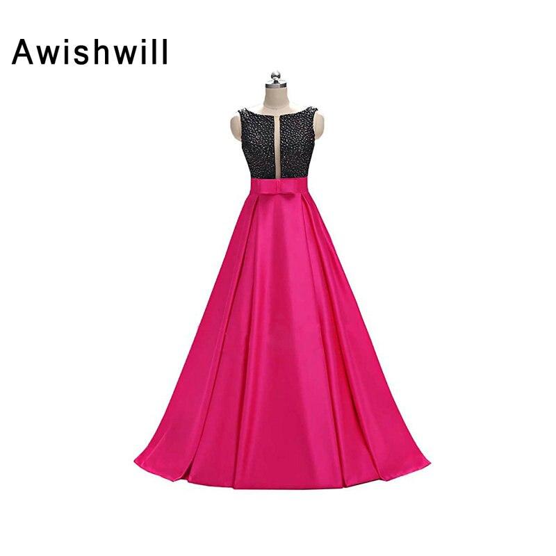 New Fashion Open Back Scoop Neck Handmade Raso di perline A-line Piano lunghezza Occasionale abito formale abito da sera delle donne