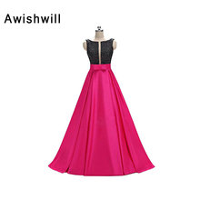 New Fashion Open Back Scoop Neck Handmade Beaded Satin A-line Floor Length Occasion Formal Dress Women Evening Gown