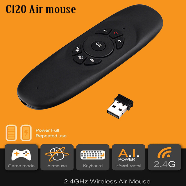 US $15 03 |2 4Ghz Gyroscope Fly Air Mouse C120 Wireless Game Keyboard  Android Remote Controller Rechargeable Keyboard For Smart Tv Box-in Remote