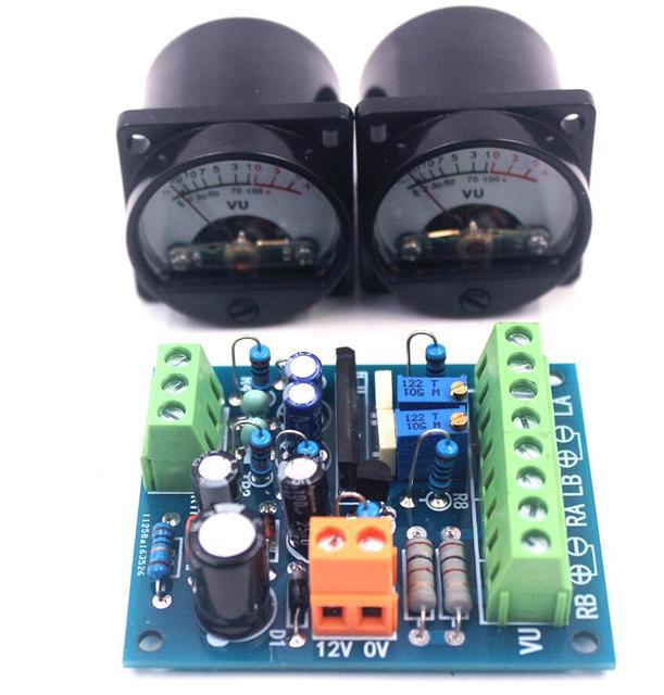2 יחידות לוח VU מחוון רמת שמע מוסיקה ספקטרום עם נהג לוח עבור רמקולי מגבר