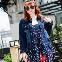İnce Denim Ceketler Marka Yeni Artı Boyutu 3 4 XL Rahat Tek Göğüslü Kısa Stil Kadın Ceket Giyim Mavi OLL38-0630