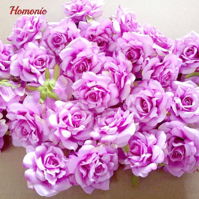 DIY artificial preserved rose flower heads silk decorative flower ...