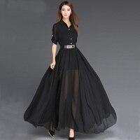 2018 Summer Elegant Women Chiffon Long Dress Floor Length Dress Ladies Half Sleeve Chiffon Bohemia Dress