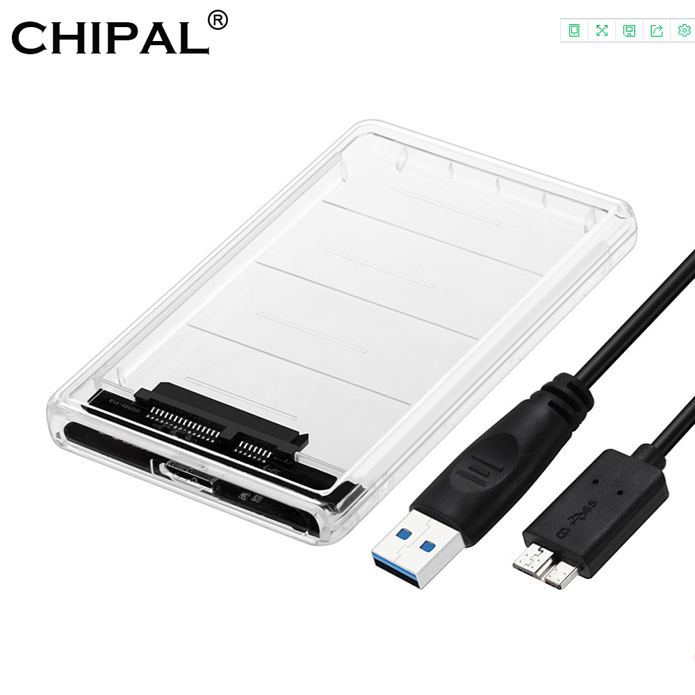 CHIPAL Transparent 2.5 inch HDD SSD Case Sata to USB 3.0 Adapter Free 5 Gbps Box Hard Drive Enclosure Support 2TB UASP Protocol(China)