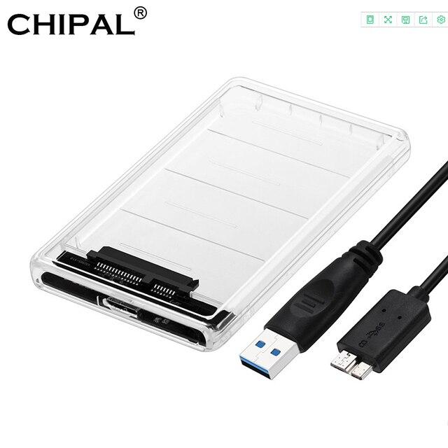 CHIPAL Trong Suốt 2.5 inch HDD SSD Trường Hợp Sata để USB 3.0 Adapter Miễn Phí Vận 5 Gbps Ổ Đĩa Cứng Enclosure Hỗ Trợ 2 tb UASP Giao Thức