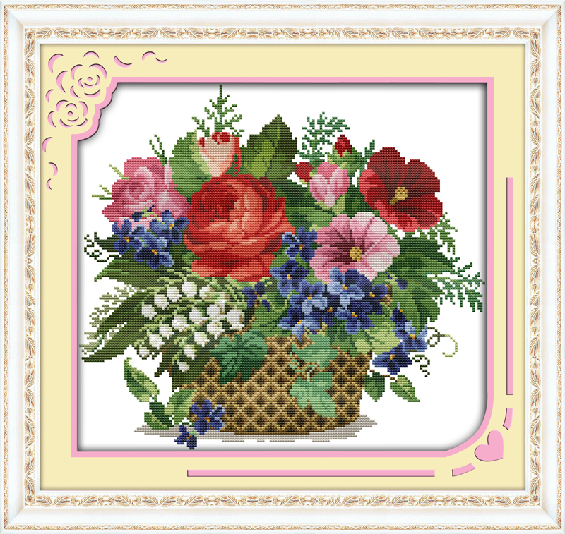 Blooming Flower In Basket Cross Stitch Kits Printed Pattern Canvas DMC Counted Chinese Embroidery Needlework Cross-stitch Set
