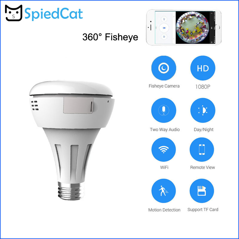 Fast Deliver Wireless Panoramic Wifi Cctv Fisheye Smart Bulb Lamp Ip Camera 360 Degree Home Security Anti 1.3mp/2mp Hd Surveillance Easy And Simple To Handle Camera & Photo