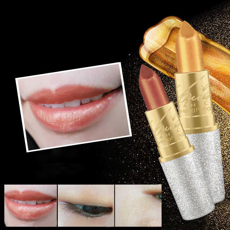 Baru Merah Muda Telanjang Tahan Lama Shimmer Emas Lipstik Kit Hot Mermaid Shimmer Emas Lipstik Makeup Pigmentwaterproof Cair