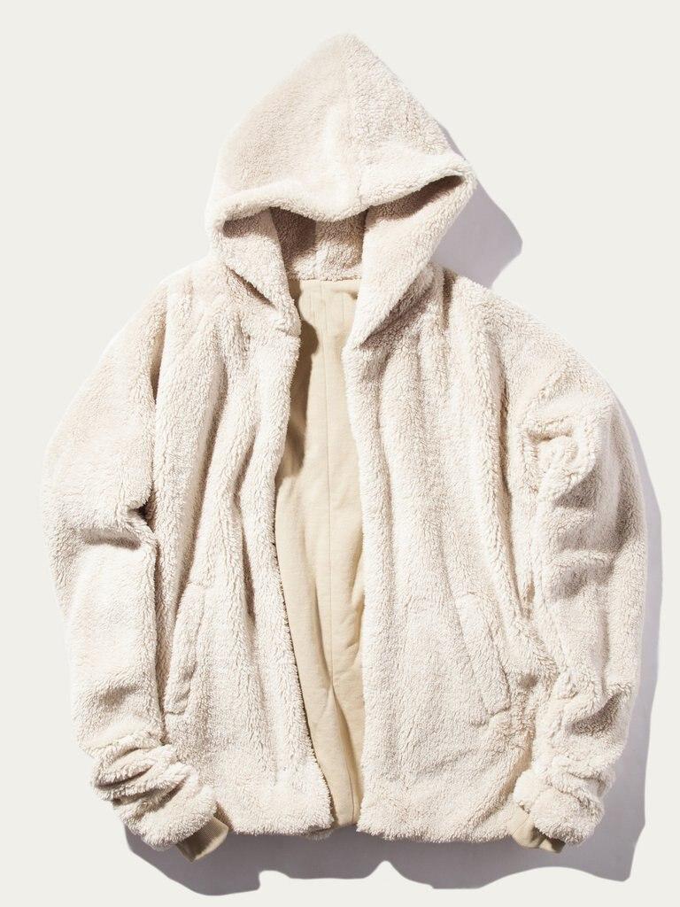 Windbreaker New 2018 arrival reversible mens coat hoodie clothing fur cool jackets for men clothes beige fleece jacket