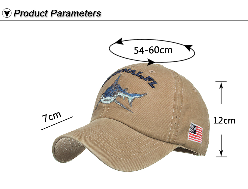 fd741365832f1 Details about Baseball Cap Fishing Shark USA Flag Cotton Washed Vintage  Original FL Embroidery