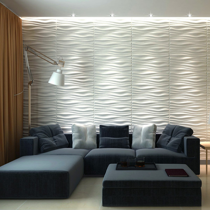 3 қабырғаға арналған сәндік 3D қабырға панельдері 6 тақтайшадан тұратын талшықты материалдардың дизайн жиынтығы