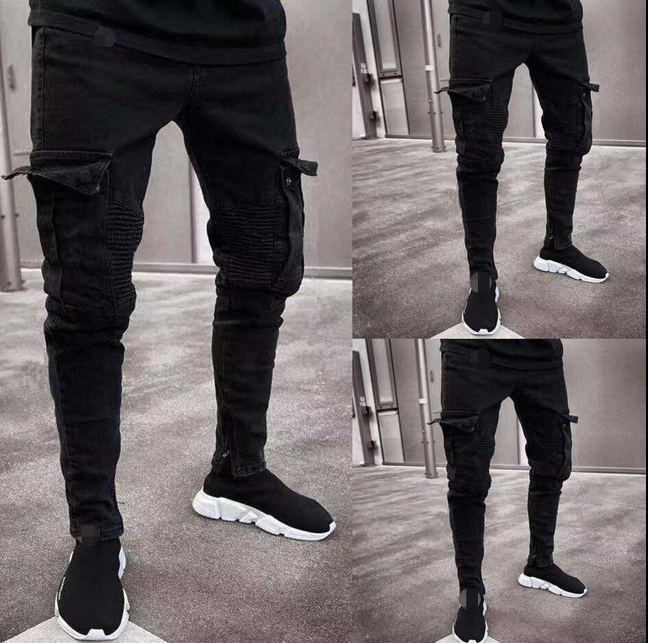 2019 Fashion Black Jean Men Denim Skinny Biker Jeans Destroyed Frayed Slim Fit Pocket Cargo Pencil Pants Plus Size S-3XL