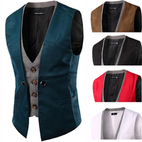 Double Layer Casual Slim Male Wedding Waistcoat Sleeveless Suit Men Dress Vest Green Navy Brown Burgundy Red White Champagne