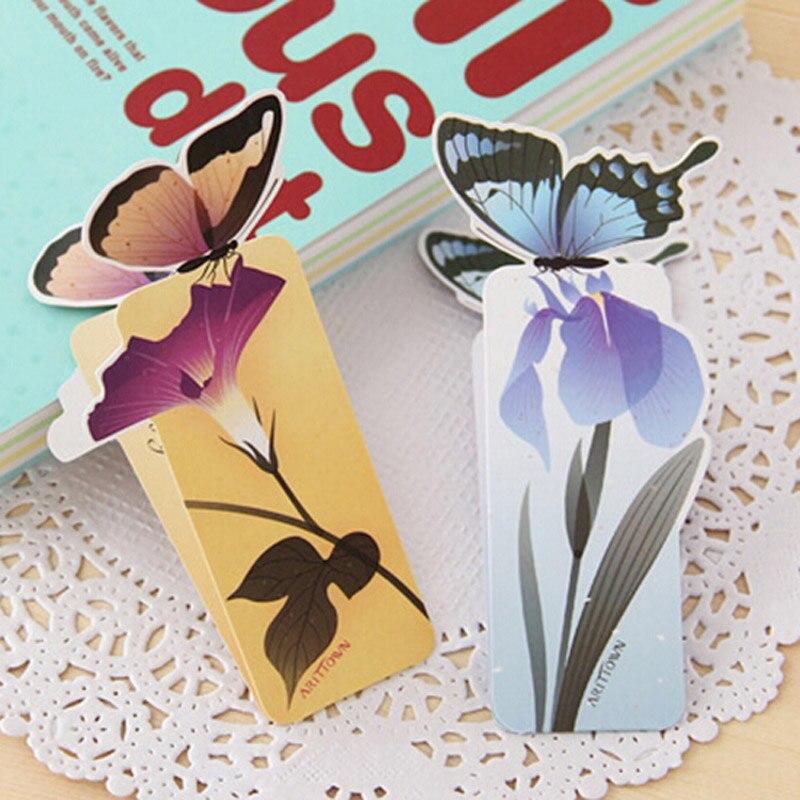 Купить с кэшбэком Beautiful 50 pcs/lot 3D Butterfly Bookmark For Birthday Christmas Gift Book Marks Office School Supplies students stationery